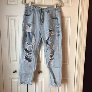 Pull & Bear Distressed Mom Jeans 30